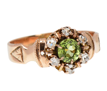 Victorian Peridot Diamond Cluster Ring