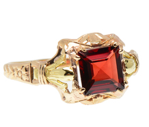 Victorian Rose & Yellow Gold Garnet Ring