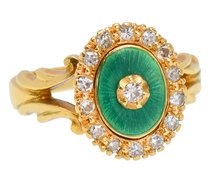 Thoughts of Spring - Diamond Enamel Ring