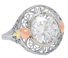 Vintage Tri Color Gold Rock Crystal Ring
