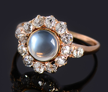Mystery - Moonstone Diamond Halo Ring