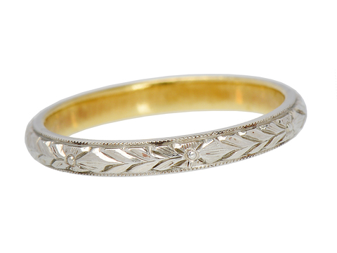 Art Deco Patterned Wedding Ring