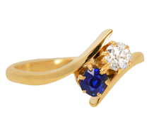 On Angle - Diamond Sapphire Vintage Ring