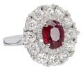 Burmese Ruby Diamond Halo Ring