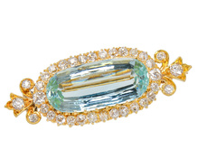 Edwardian Aquamarine Diamond Brooch