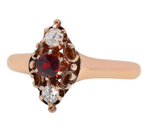 Harmony - Victorian Garnet Diamond Ring