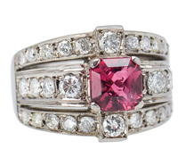 Retro Pink Tourmaline Diamond Ring