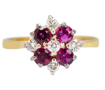 English Ruby Diamond Cluster Ring