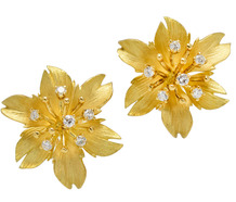 Estate Textured Diamond Blossom Earrings