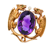 Dragon Feast - Krementz Amethyst Brooch