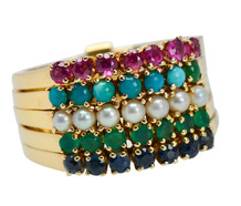 Vintage Harem Ring with Gemstones