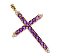 Elegant Antique Amethyst Pearl Cross