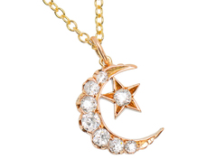 Heavenly - Diamond Crescent Moon & Star Necklace