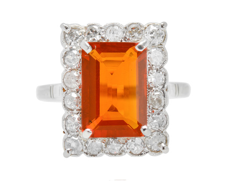 Fireside - Estate Fire Opal Diamond Ring
