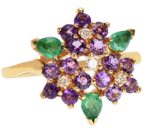 Earthly Gardens - Gem Set Flower Bouquet Ring