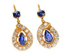 Antique Sapphire Diamond Earrings
