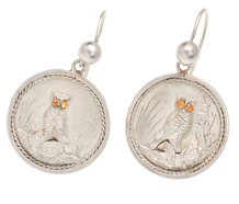 Japanese Inspired Victorian Owl Bird Earrings