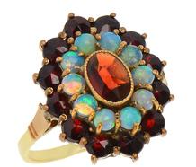 Vintage Cluster Ring of Garnets & Opals