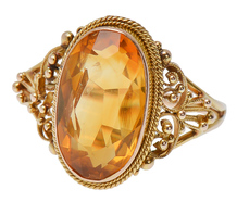 Ornate Vintage Edwardian Citrine Ring