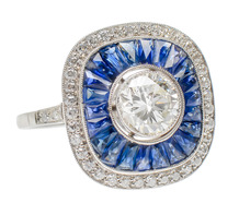 Artful Platinum Ring of Diamonds & Sapphires