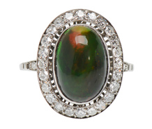 Black Opal & Diamond Dinner Ring