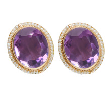 Pearl Amethyst Vintage Earrings