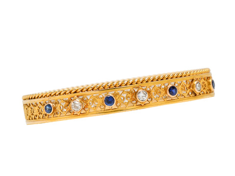 Edwardian Diamond Sapphire Gold Bangle