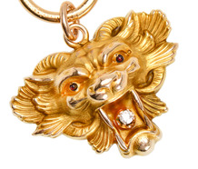 Art Nouveau Diamond Lion Head Pendant