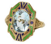 Art Deco Aquamarine & Enamel Ring