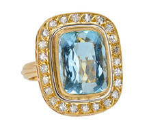 Center Stage - Aquamarine Diamond Ring