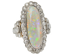 Vintage Opal & Diamond Cluster Ring