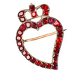 18th C. Witch's Heart Brooch with Garnets