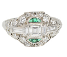 Art Deco Vintage Diamond Emerald Ring