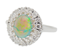Florid Finery - Estate Opal Diamond Ring
