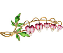 Krementz Bleeding Hearts Flower Brooch