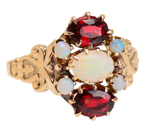 Edwardian Femininity -  Antique Opal Garnet Ring