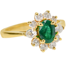 Heavenly Emerald Diamond Halo Ring