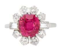 Superb No Heat Burmese Ruby Diamond Ring