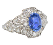 Antique No Heat Sapphire Diamond Ring