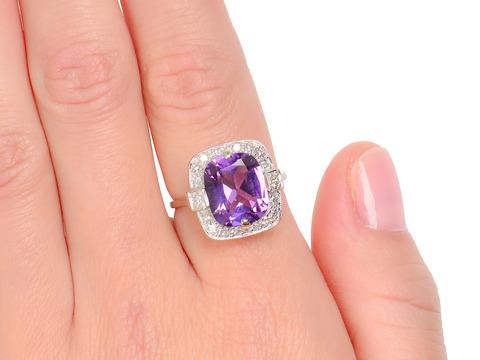 Vintage Amethyst & Diamond Halo Ring
