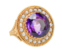 Vivacious Amethyst Pearl Vintage Ring