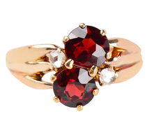 Art Nouveau Pyrope Garnet Diamond Ring