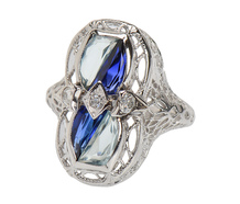 Art Deco Fling - Vintage Aquamarine Ring