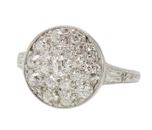 Edwardian Platinum Diamond Cluster Ring