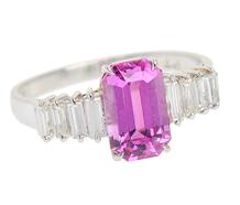 No Heat Pink Sapphire Diamond Ring