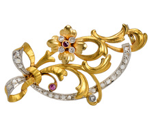 Art Nouveau Flower Ruby Diamond Brooch