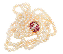 Cultured Pearls & Diamond Ruby Clasp