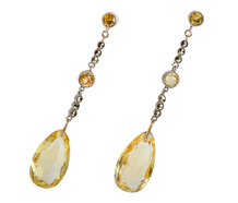 Art Deco Citrine Marcasite Earrings