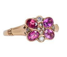 Dated 1918 Butterfly Garnet Diamond Ring