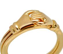 English Fede Gimmel Ring in 18k Gold